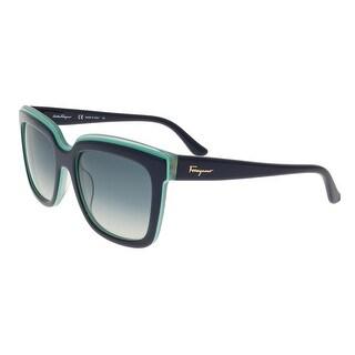 Salvatore Ferragamo SF758/S 419 Blue Turquoise Square Sunglasses - 54-19-140