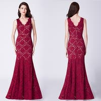 Ever-Pretty Women's Lace Mermaid V-Neck Formal Evening Prom Gown 07389