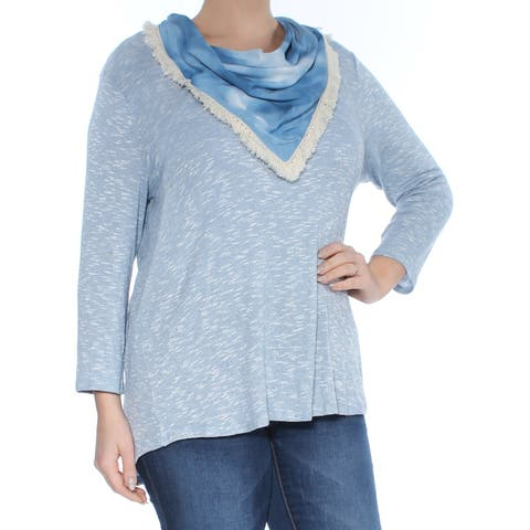 STYLE & CO Womens Blue Fringed Removable Scarf Long Sleeve Sweater Plus Size: L