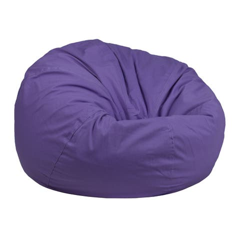 Offex Oversized Portable Cotton Upholstered Kids Bean Bag Chair - Purple