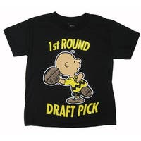 Peanuts Boys Black Character Lettering Print Short Sleeve T-Shirt