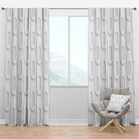 Designart 'Curved Shape Pattern' Scandinavian Blackout Curtain Panel