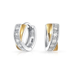 So Chic Jewels 925 Sterling Silver Twisted Ear Studs with Cubic Zirconia