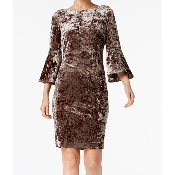 f52df9d5887 Shop Calvin Klein Brown Womens Size 2 Bell Sleeve Velvet Sheath Dress -  Free Shipping On Orders Over  45 - Overstock - 27013252
