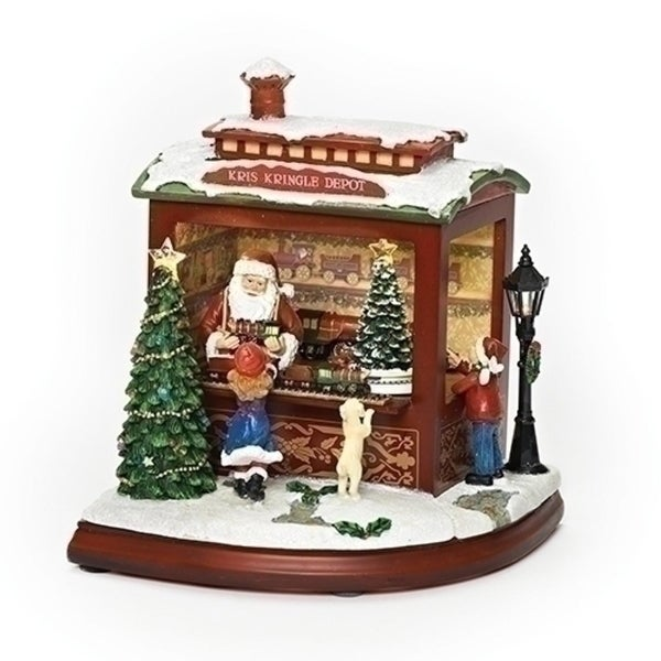 "9.25"" Battery Operated LED Pre-lit Kris Kringle Depot Musical Rotating Christmas Figure - green"