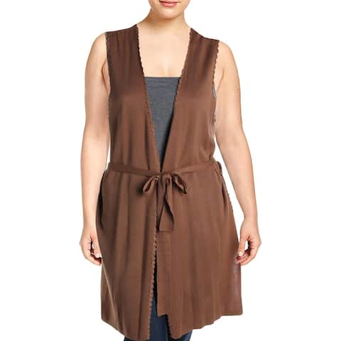 Kobi Halperin Womens Edna Cardigan Sweater Cochet Sleeveless - Sepia