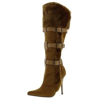 Funtasma Womens Viking Knee-High Boots Faux Fut Heels