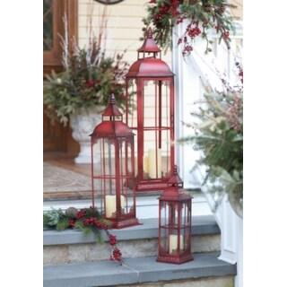 """Set of 3 Red Metal & Glass Pillar Candle Lanterns 19.75 - 37"""""""