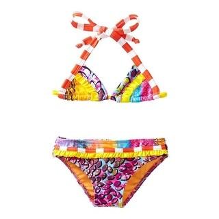 Azul Girls Orange In The Mix Triangle Top 2 Pc Bikini Swimsuit