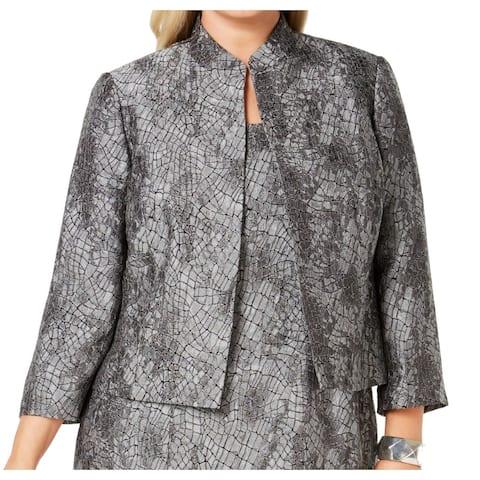 Kasper Women's Jacket Metallic Textured Open Front