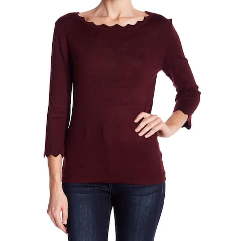 Philosophy Womens Sweater Burgundy Red Size XS Scoop Neck Scalloped Hem