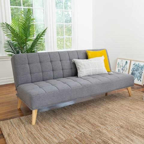 Abbyson Carson Mid Century Tufted Convertible Futon Sleeper Sofa