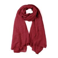 Soft Lightweight Long Scarves With Solid Color Shawl For Women Men Rust red-1