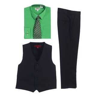 Gioberti Green Black Vest Pants Striped Tie Shirt 4 Pc Formal Set (4 options available)