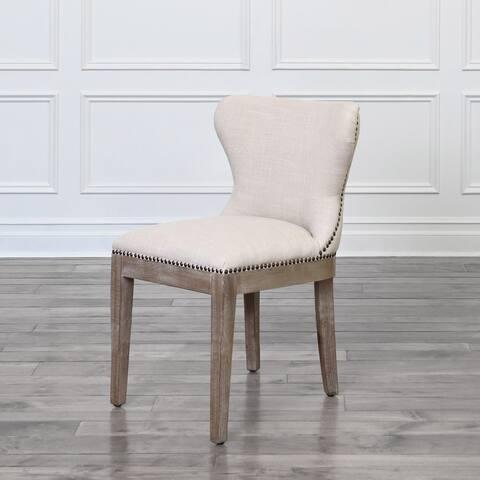 Abbyson Woodrow Beige Linen Dining Chair