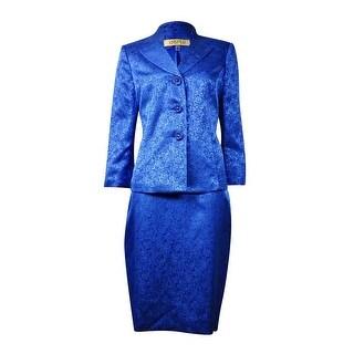 Kasper Women's Sheen Jacquard Three-Button Skirt Suit - Sapphire - 4