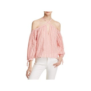 Rebecca Taylor Womens Casual Top Striped Off The Shoulder