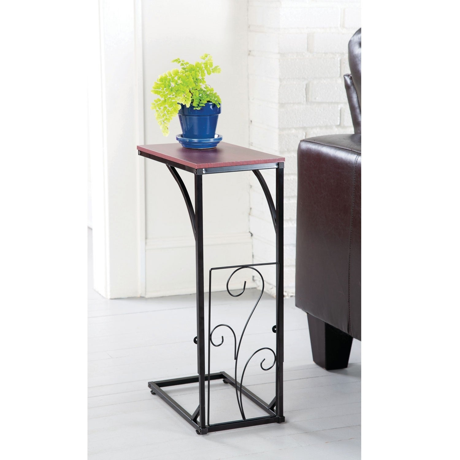 Adjustable Height Sofa Side End Table Brown Wood Top Black Metal Scroll Design C Shaped Tv Tray For Couch Chair Recliner On Sale Overstock 28712635