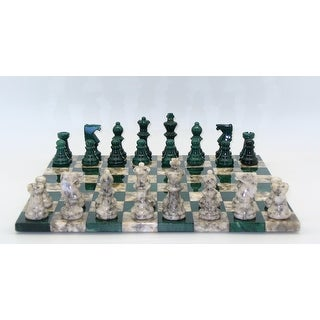 Green & Grey Basic Alabaster Chess Set - Multicolored