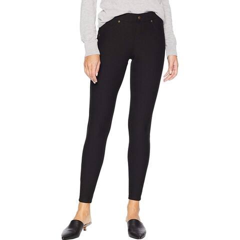 Hue Womens Pants Black Small S Skinny Fleece Lined Denim-Look Leggings