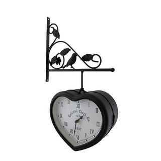 double sided hanging heart shaped clock wdecorative bracket