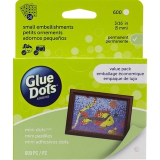 "Glue Dots .1875"" Mini Dot Sheets Value Pack-600 Clear Dots"