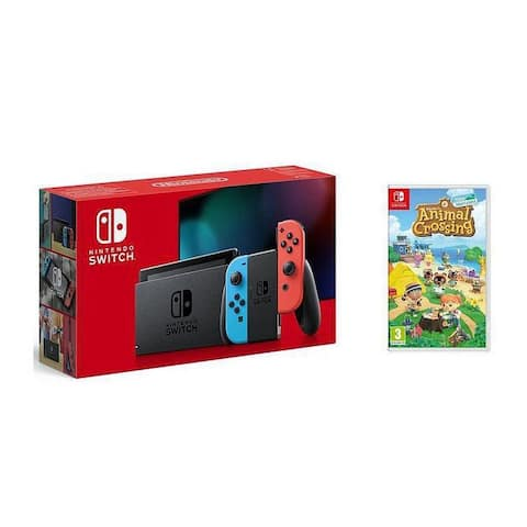 2019 New Nintendo Switch Red/Blue Joy-Con Improved Battery Life Console Bundle with Animal Crossing: New Horizons