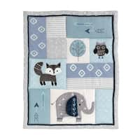 Lambs & Ivy Stay Wild Blue/Gray Elephant, Fox & Owl Baby/Toddler Quilt