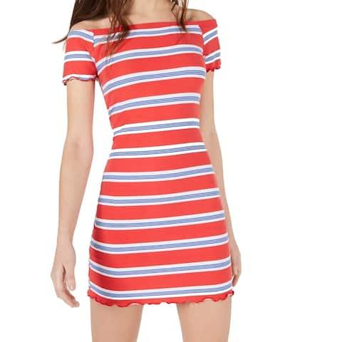 Ultra Flirt Junior Striped Ruffle Off Shoulder Sheath Dress $29