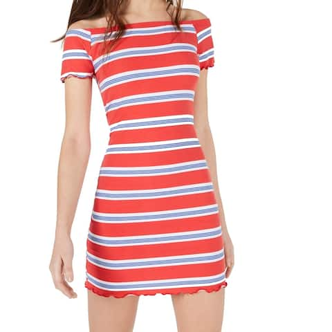 Ultra Flirt Red Size XXS Junior Striped Ruffle Off Shoulder Sheath Dress 269