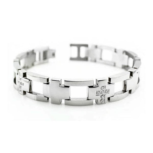 Men's CNC Pave Set Stainless Steel Bracelet - 8.5 inches