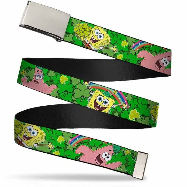 Blank Chrome Buckle Sponge Bob & Patrick Starfish St. Patrick's Day Web Belt