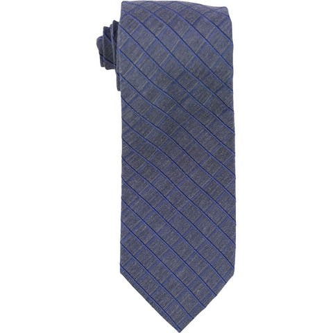 Kenneth Cole Mens Peter Grid Self-Tied Necktie - One Size