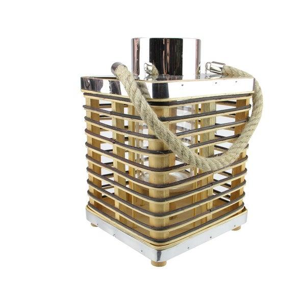 "11.25"" Rustic Chic Rectangular Rattan Candle Holder Lantern with Jute Handle"
