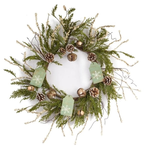 Pack of 2 Decorative Wintry Brown and Green Pine Wreath with Tag