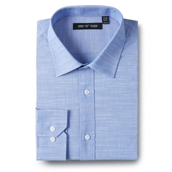 Mens Regular Fit Solid Blue Cotton Slub Dress Shirts