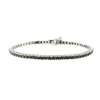 14k White Gold 3.00 TDW Black Diamond Tennis Bracelets By Prism Jewel