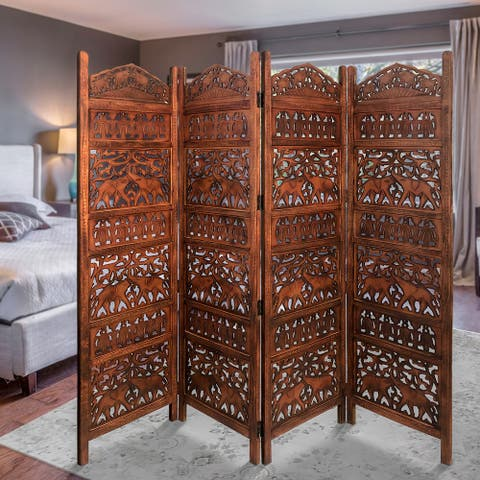 Traditionally Wooden Carved 4 Panel Room Divider Screen with Intricate Cutout Details, Brown