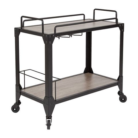 Offex Midtown Light Oak Wood and Iron Kitchen Serving and Bar Cart with Wine Glass Holders