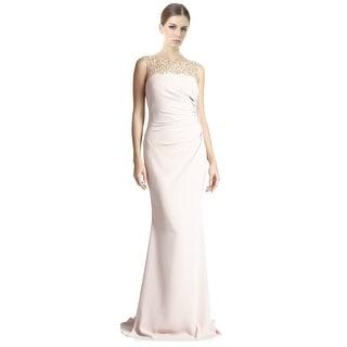 Badgley Mischka Beaded Yoke Ruched Column Evening Gown Dress