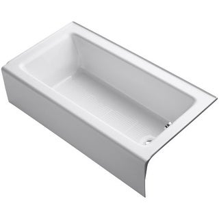 "Kohler K-876 Bellwether Collection 60"" Three Wall Alcove Cast Iron Soaking Bath Tub with Integral Apron and Right Hand Drain"