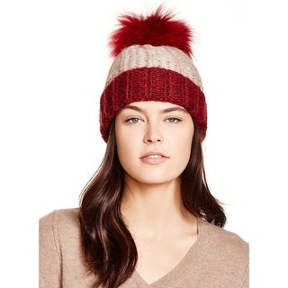 Aqua Ladies Taupe & Red Colorblock Knit Cuffed Beanie With Fur Pom Pom