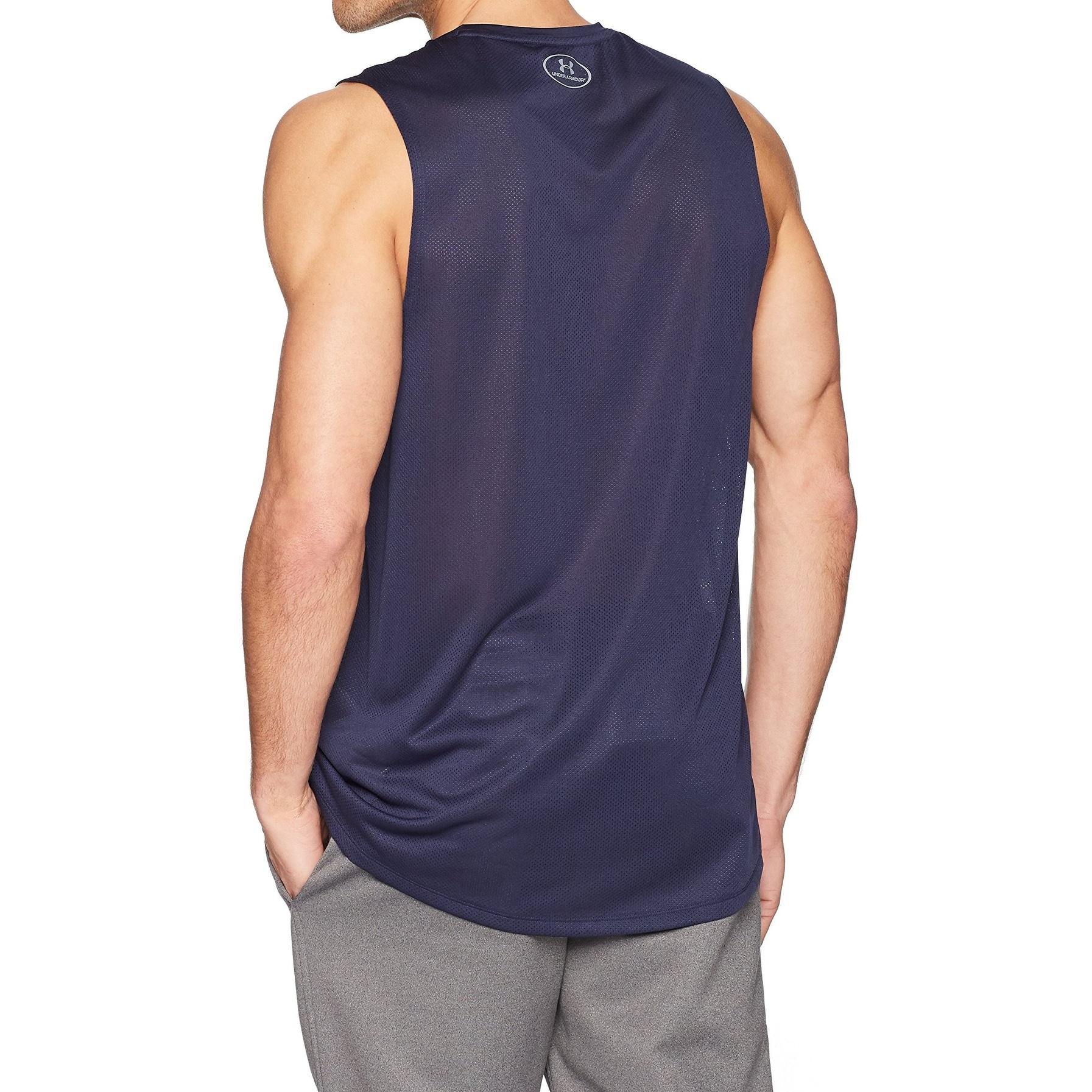 93f50780 Under Armour Navy Blue Mens Size 2XL Sleeveless Printed Tank Top