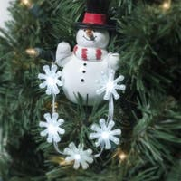 Department 56 Snowman Ornament With Snowflake Chaser Lights #99709