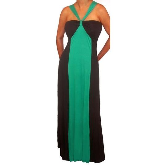 Funfash Plus Size Green Black Color Block Halter Long Maxi Dress