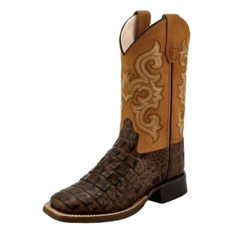 Old West Cowboy Boots Boys Block Gator Print Brown Tan Fry