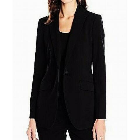 Anne Klein Women's Jacket Intense Black Size 14 Single Button Sleeve