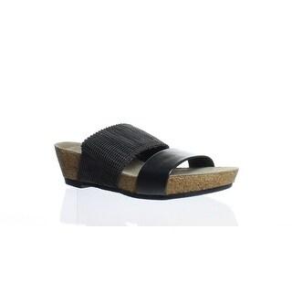 Munro Womens Riviera Black Shimmer Slides Size 7 (AA,N)