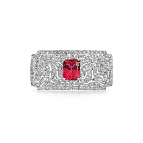 58451255e2b Classic Vintage Style Filigree Red CZ Rectangle Brooch Pin Imitation Ruby  Cut Cubic Zirconia Rhodium Plated