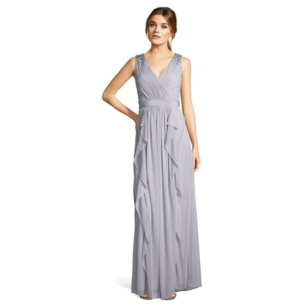 64e3a3bee943 Shop Adrianna Papell Shirred Tulle Ruffle Gown Sequin Accents, Silver, 8 -  Free Shipping Today - Overstock - 23579721